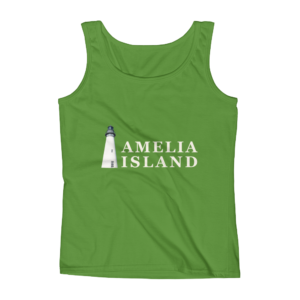 Amelia Iconic Lighthouse Missy Fit Tank-Top Green-Apple Cream Text