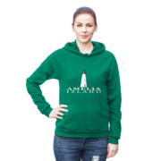 Amelia Island Lighthouse Kelly-Green Hoodie Female Model