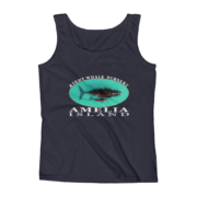 Amelia Island Right Whale Nursery Ladies Missy Fit Ringspun Tank Top Navy