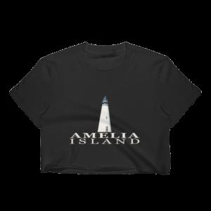 Amelia Lighthouse Short Sleeve Cropped T-Shirt Black