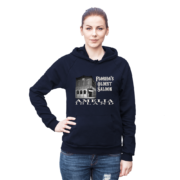 Florida's Oldest Saloon Navy Hoodie Female Model