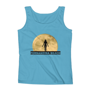 Full Moon Yoga Missy Fit Tank-Top Caribbean-Blue
