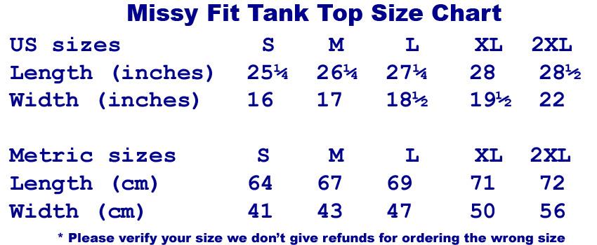 Size Chart Missy Fit Tank Top