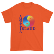 Yin & Yang Ultra Cotton T-Shirt Orange with Blue Text