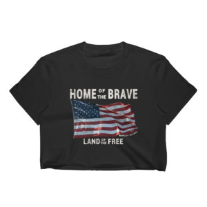 Home of the Brave Land of the Free Cropped T-Shirt Black