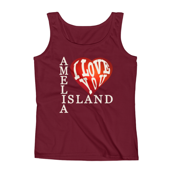 Amelia I Love You Missy Fit Tank-Top Independence-Red