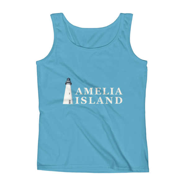 Amelia Iconic Lighthouse Missy Fit Tank-Top Caribbean-Blue Cream Text