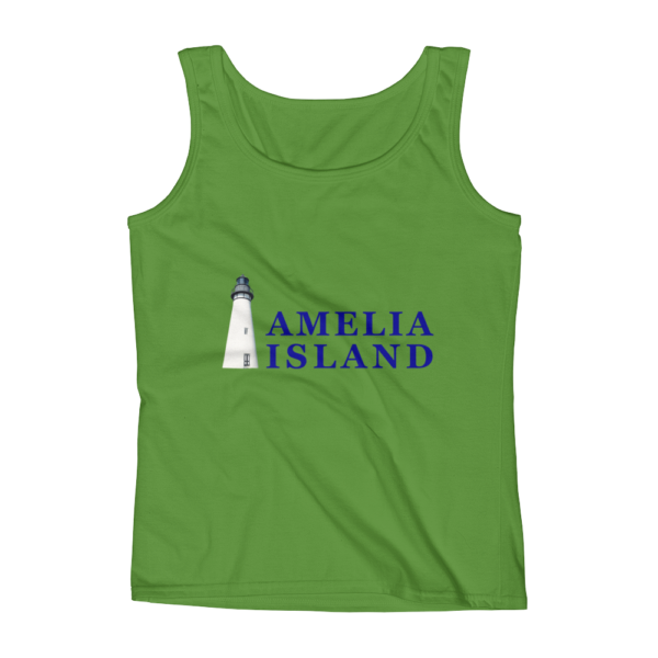 Amelia Iconic Lighthouse Missy Fit Tank-Top Green-Apple Blue Text