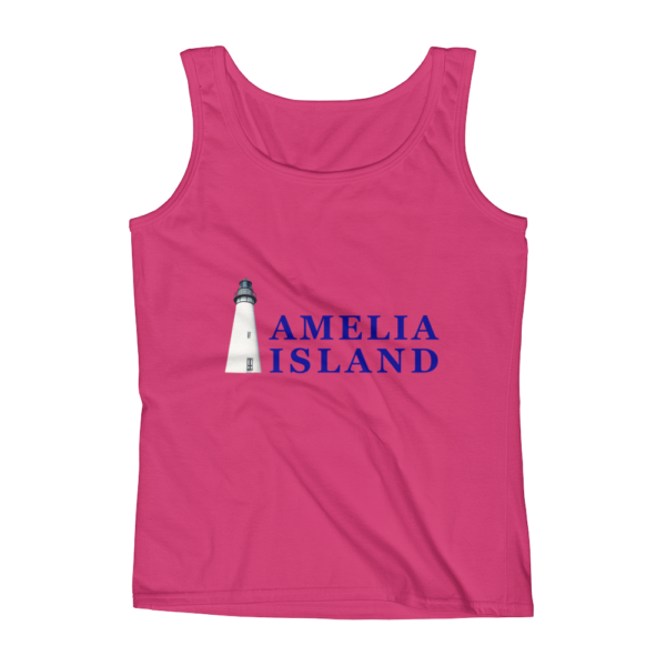 Amelia Iconic Lighthouse Missy Fit Tank-Top Hot-Pink Blue Text