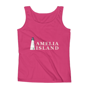 Amelia Iconic Lighthouse Missy Fit Tank-Top Hot-PinkCream Text