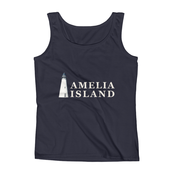 Amelia Iconic Lighthouse Missy Fit Tank-Top Navy