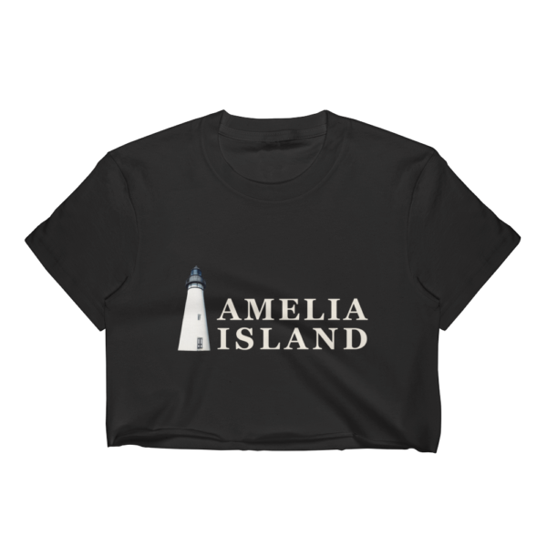 Amelia Iconic Lighthouse Short Sleeve Cropped T-Shirt Black