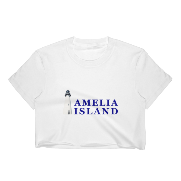 Amelia Iconic Lighthouse Short Sleeve Cropped T-Shirt White