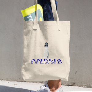Amelia Island Lighthouse Beige Tote being carried