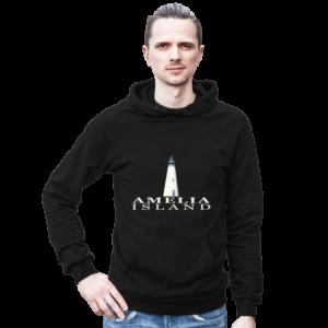 Amelia Island Lighthouse Black Hoodie Male Model