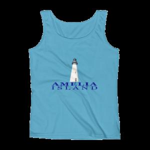 Amelia Island Lighthouse Missy Fit Tank-Top Caribbean-Blue Blue Text