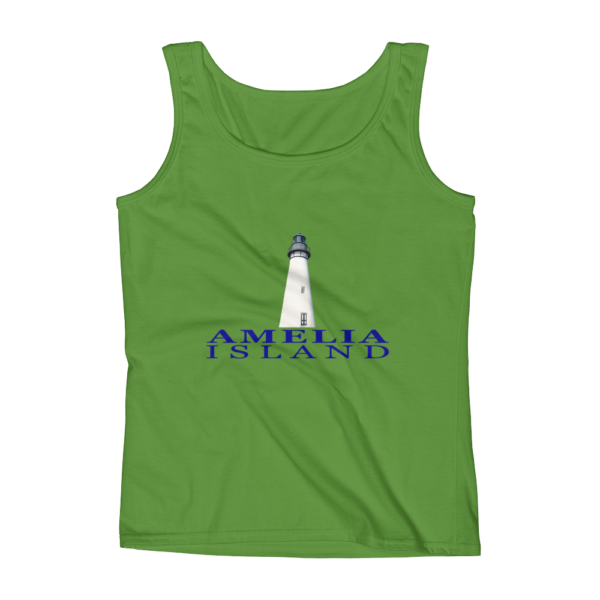Amelia Island Lighthouse Missy Fit Tank-Top Green-Apple Blue Text