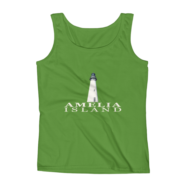 Amelia Island Lighthouse Missy Fit Tank-Top Green-Apple Cream Text