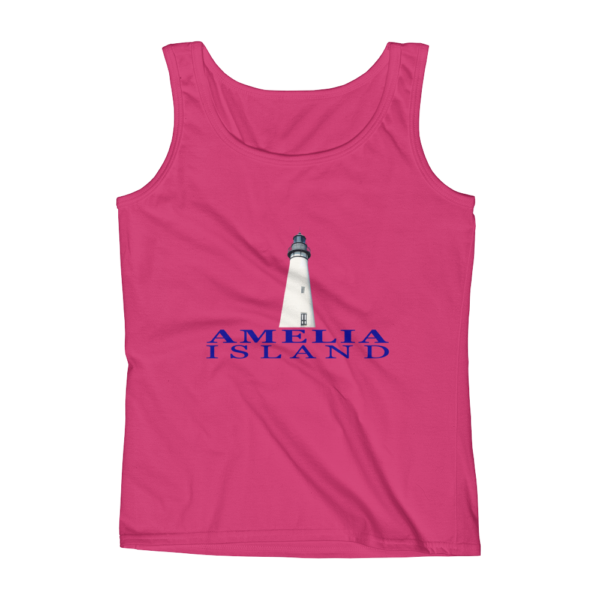 Amelia Island Lighthouse Missy Fit Tank-Top Hot-Pink Blue Text