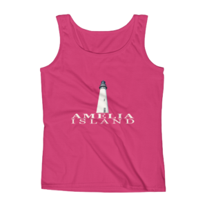 Amelia Island Lighthouse Missy Fit Tank-Top Hot-Pink Cream Text