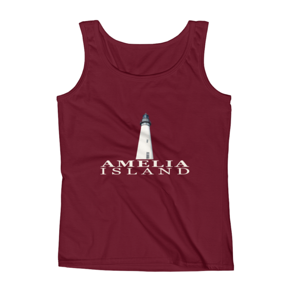 Amelia Island Lighthouse Missy Fit Tank-Top Independence-Red