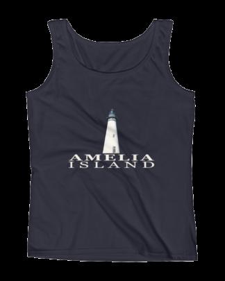 Amelia Island Lighthouse Missy Fit Tank-Top Navy