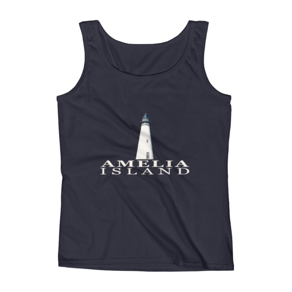 Amelia Island Lighthouse Missy Fit Tank-Top Navy