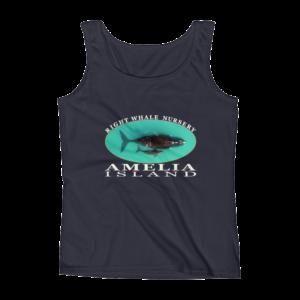 Amelia Island Right Whale Nursery Ladies Missy Fit Ringspun Tank Top Navy