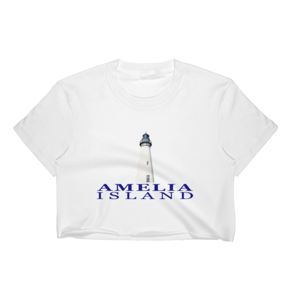 Amelia Lighthouse Short Sleeve Cropped T-Shirt White