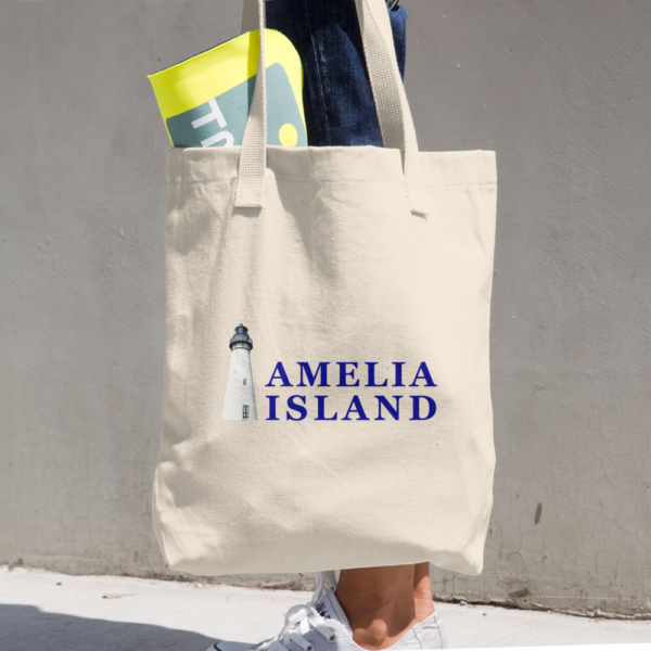 Amelia's Iconic Lighthouse Beige Tote being carried