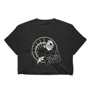 Bad to the Bone Short Sleeve Cropped T-Shirt Black