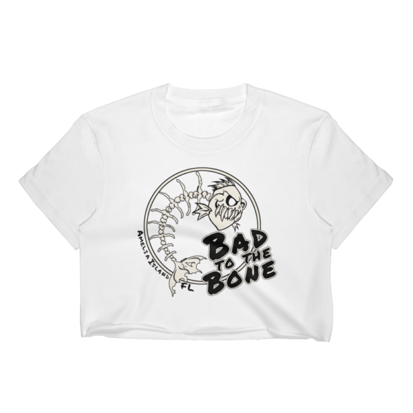 Bad to the Bone Short Sleeve Cropped T-Shirt White