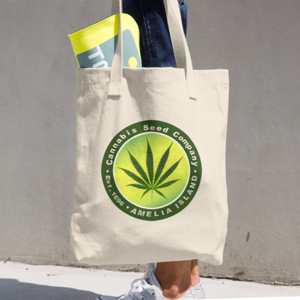 Cannabis Seed Company Denim Beige Tote being carried