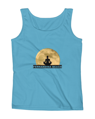 Full Moon Lotus Missy Fit Tank Top Caribbean-Blue