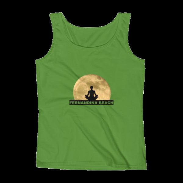Full Moon Lotus Missy Fit Tank Top Green-Apple