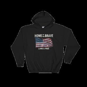Home of the Brave Land of the Free Gildan Hooded Sweatshirt Black