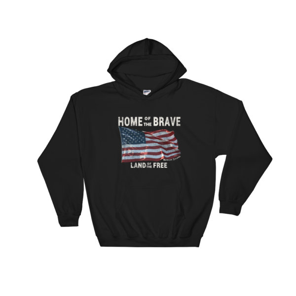 Home of the Brave Land of the Free Gildan Hooded Sweatshirt Black