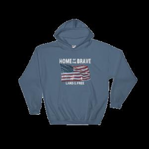 Home of the Brave Land of the Free Gildan Hooded Sweatshirt Indigo-Blue