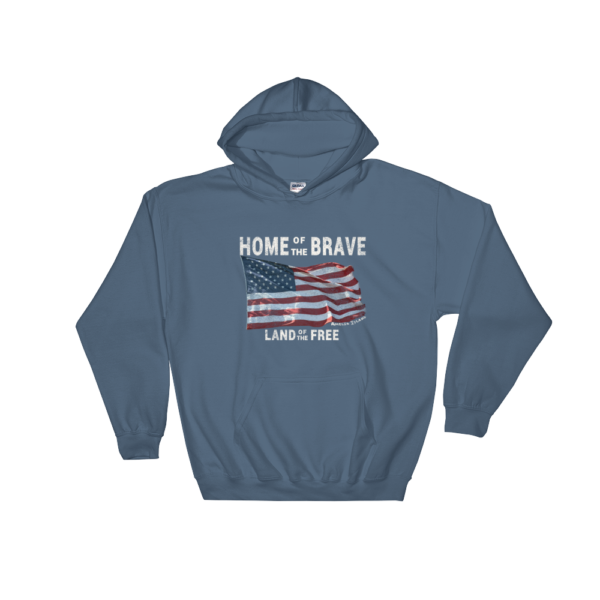 Home of the Brave Land of the Free Gildan Hooded Sweatshirt Indigo-Blue