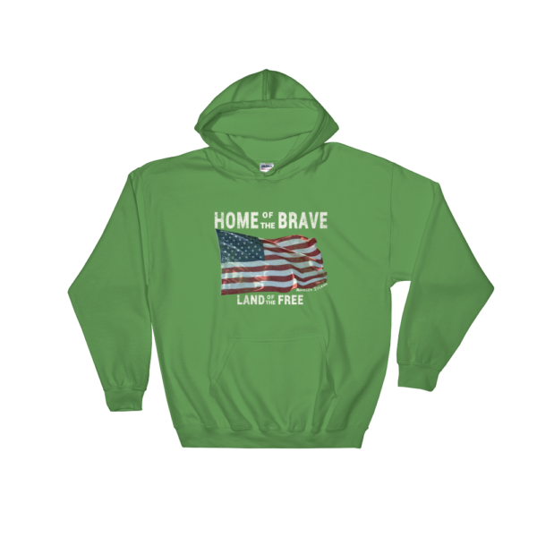Home of the Brave Land of the Free Gildan Hooded Sweatshirt Irish-Green