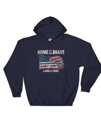 Brave Land of the Free Gildan Hooded Sweatshirt Navy