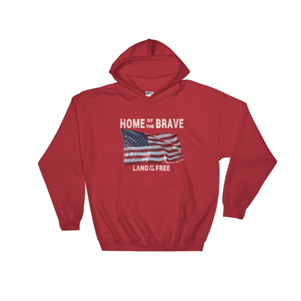 Home of the Brave Land of the Free Gildan Hooded Sweatshirt Red