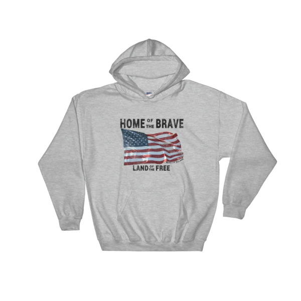 Home of the Brave Land of the Free Gildan Hooded Sweatshirt Sport-Grey