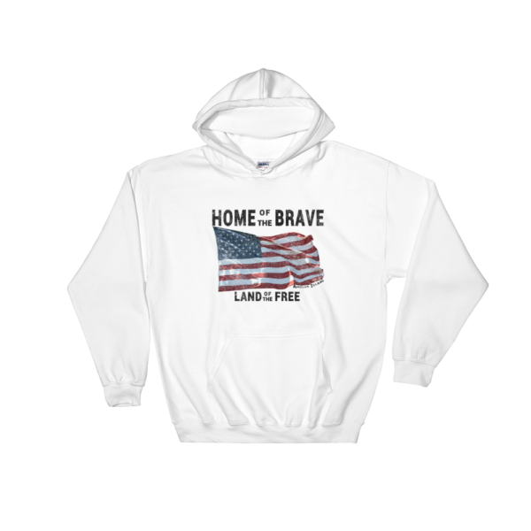 Home of the Brave Land of the Free Gildan Hooded Sweatshirt White