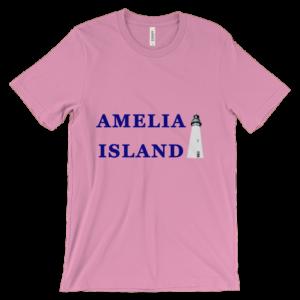 Lighthouse Blue Text Unisex Pink Tee-Shirt