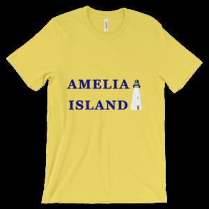 Lighthouse Blue Text Unisex Yellow Tee-Shirt