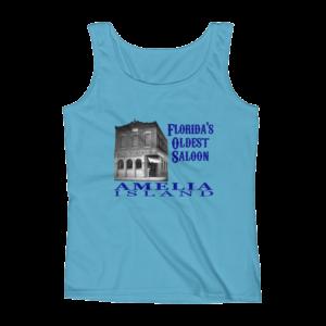 Oldest Saloon Missy Fit Tank-Top Caribbean-Blue Blue Text