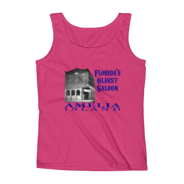 Oldest Saloon Missy Fit Tank-Top Hot-Pink Blue Text