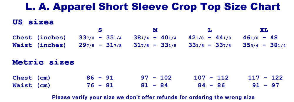Size Chart - LA Apparel Crop Top