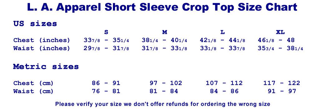 Size Chart - LA Apparel Crop Top